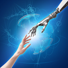 female human and robot's hands as a symbol of connection between people and artificial intelligence technology