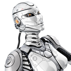 A female high detailed robot with internal cyber technology, 3/4 view isolated on white background.