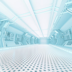 futuristic design spaceship interior with metal floor and light panels