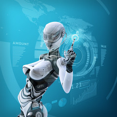 Modern futuristic female android managing virtual interface in digital space