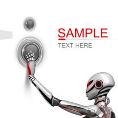 Futuristic design template. Female Robot pushing a techno button on white background isolated