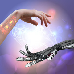 woman and robot hand as a symbol of connections between people and technology