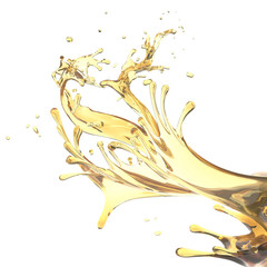 abstract design template splashes of yellow oil isolated on white background