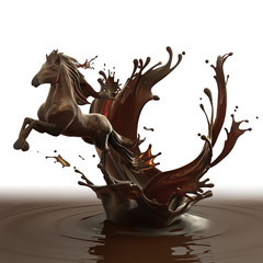 Sweet food design element template isolated on white background. Liquid hot chocolate horse made of brown glossy coffe running with splashes.