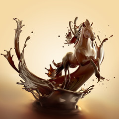 Sweet food design element template. Liquid hot chocolate horse made of brown glossy coffe running with splashes.