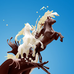 Food dessert design element on blue background. Liquid horses made of brown glossy caramele coffee and fat milk running making splashes with drops.