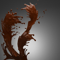 liquid splash of brown hot chocolate on horisontal white background isolated