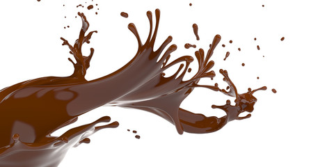 Macro splash of brown hot chocolate on horisontal white background