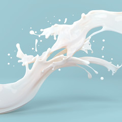 abstract white glossy fat milk splashes on blue background