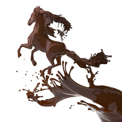 splashed horse made of brown coffee running isolated on white background