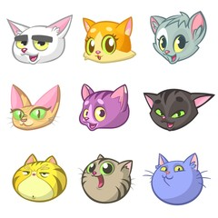 Cartoon Illustration of Different Happy Cats ot Kittens Heads Collection Set. Vector pack of colorful cats icons. Cartoon sphynx, Maine Coon, siamese, british and domestic