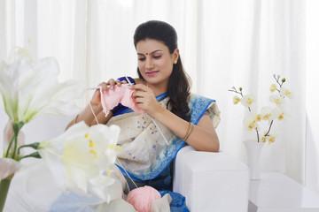 Housewife knitting