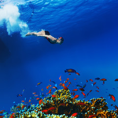 professional freediver making apnea gliding underwater with air bubbles trail over beautiful colorful coral reef