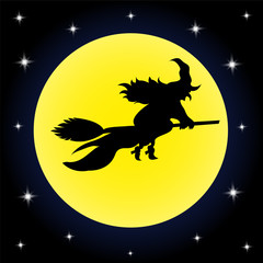 Background Halloween witch on a broom full moon sta