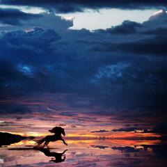 Beautiful sunset beach with Running Horse trough water design template