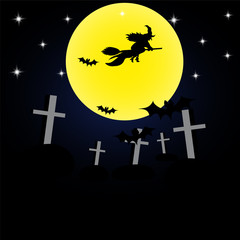 Background Halloween witch on a broomstick cemetery