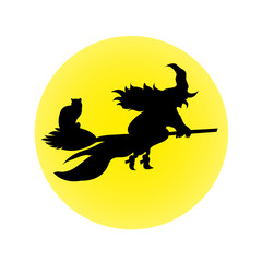 Halloween witch on a broomstick moon black cat white background
