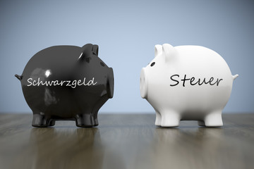 two piggy banks with the words black money and tax in german language