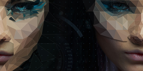 Futuristic stylized female face with low poly digital design