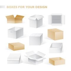 Boxes - realistic vector set of cardboard containers clip art