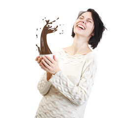Funny girl holding white cup waking up with big splash of coffee on white background