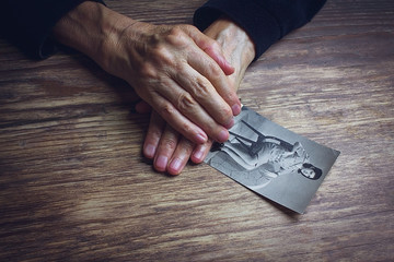 Elderly Woman and picture