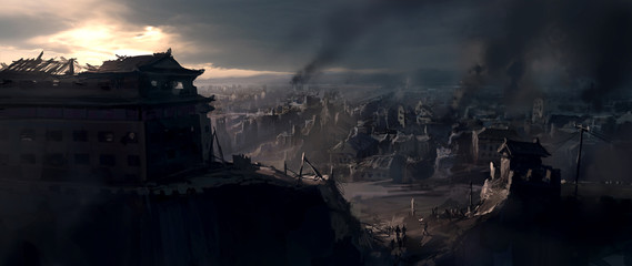 The destroyed city, digital painting. Wall mural