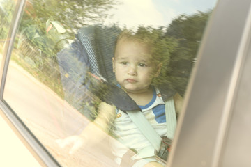 Child forgotten in the car on a hot day