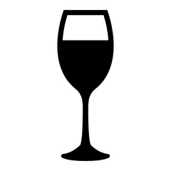 Glass of wine black color icon .