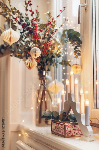 christmas decorations on windowsill
