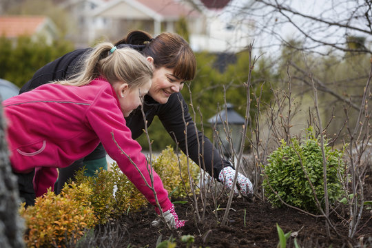 mother and daugther cleans weeds