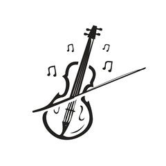 violin illustration with music notes, icon design, isolated on white background.