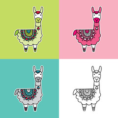 Cute and fun llama multi-colored vector illustration with a patterned blanket in various colors.