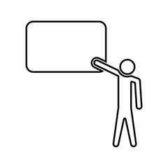 Teacher standing near blackboard black color icon .