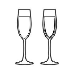 Glass of champagne black color icon .