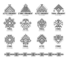 Native tribal icon set