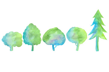 水彩で描いた木々 Trees drawn with watercolors