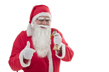 Santa Claus showing thumbs up while eating chocolate bar over white background