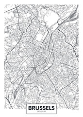 Detailed vector poster city map Brussels