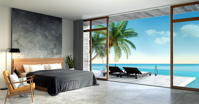 Modern Loft  interior of Bedroom ,Summer , sun loungers on Sunbathing deck and private swimming pool with  panoramic sea view at villa/3d rendering