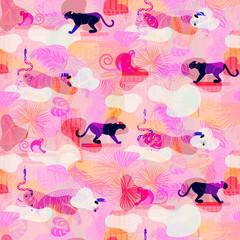 Motif harmonieux de camo d& 39 animaux sauvages et de plantes de la forêt tropicale éclectique rose. Panthère et singe dans les jungles.