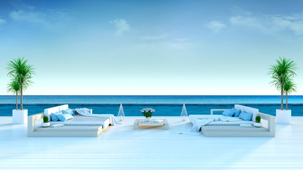 Summer ,beach lounge, sun loungers on Sunbathing deck and private swimming pool with  panoramic sea view at luxury villa/3d rendering