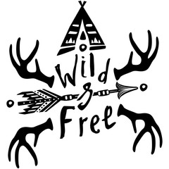 Hand drawn Wild Free inspirational lettering