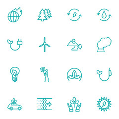 Set Of 16 Bio Outline Icons Set.Collection Of Renewable Energy, Ecol, Fuel And Other Elements.