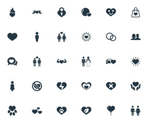Vector Illustration Set Of Simple Valentine Icons. Elements Love, Wounded, Smiling Love And Other Synonyms Homosexual, Heartbreak And Human.