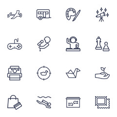 Set Of 16 Entertainment Outline Icons Set.Collection Of Chess, Video Game, Gardening And Other Elements.