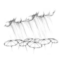 Starker Regen aus Wolke fällt auf verschiedene Regenschirme