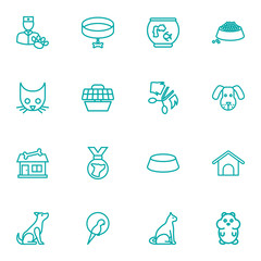 Set Of 16 Pets Outline Icons Set.Collection Of Grooming, Parrot, Collar And Other Elements.
