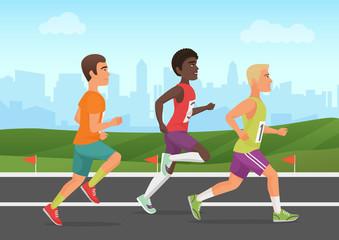 Vector illustration of cheerful black and white sportsmen running on stadium. Runners people.