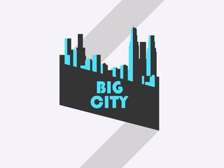 Big city, banner with ribbon. Bauhaus style. Vector illustration